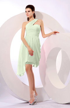 Pale Green Plain A-line Asymmetric Neckline Sleeveless Chiffon Ruching Cocktail Dresses