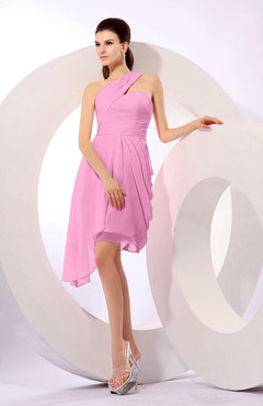 Pink Plain A-line Asymmetric Neckline Sleeveless Chiffon Ruching Cocktail Dresses