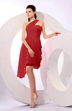 Red Plain A-line Asymmetric Neckline Sleeveless Chiffon Ruching Cocktail Dresses