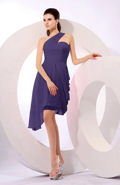 Royal Purple Plain A-line Asymmetric Neckline Sleeveless Chiffon Ruching Cocktail Dresses