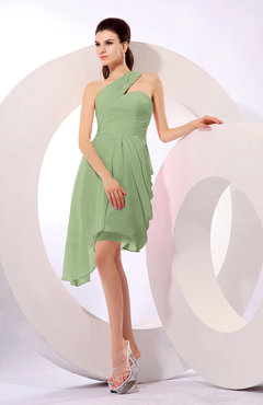 Sage Green Plain A-line Asymmetric Neckline Sleeveless Chiffon Ruching Cocktail Dresses