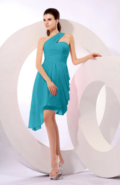 Teal Plain A-line Asymmetric Neckline Sleeveless Chiffon Ruching Cocktail Dresses