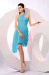 Plain A-line Asymmetric Neckline Sleeveless Chiffon Ruching Cocktail Dresses