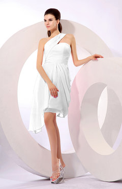White Plain A-line Asymmetric Neckline Sleeveless Chiffon Ruching Cocktail Dresses