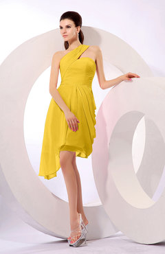 Yellow Plain A-line Asymmetric Neckline Sleeveless Chiffon Ruching Cocktail Dresses