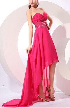 Hot Pink Glamorous A-line Sweetheart Sleeveless Zipper Rhinestone Evening Dresses