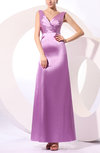 Simple V-neck Elastic Woven Satin Floor Length Ruching Prom Dresses
