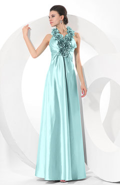 Aqua Simple Halter Sleeveless Taffeta Ruching Bridesmaid Dresses