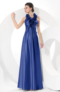 Electric Blue Simple Halter Sleeveless Taffeta Ruching Bridesmaid Dresses
