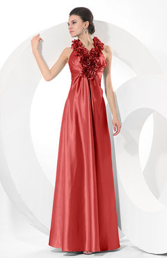 Red Simple Halter Sleeveless Taffeta Ruching Bridesmaid Dresses