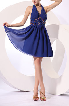 Electric Blue Sexy Halter Sleeveless Knee Length Pleated Little Black Dresses