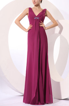 Raspberry Vintage Sheath Sleeveless Zipper Floor Length Rhinestone Evening Dresses
