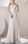 Plain Outdoor V-neck Sleeveless Chiffon Chapel Train Sequin Bridal Gowns