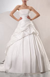 Disney Princess Church Sleeveless Lace up Taffeta Chapel Train Pleated Bridal Gowns