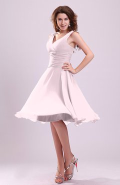 Blush Cute A-line Sleeveless Chiffon Knee Length Ruching Bridesmaid Dresses