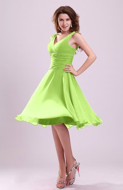 Bright Green Cute A-line Sleeveless Chiffon Knee Length Ruching Bridesmaid Dresses