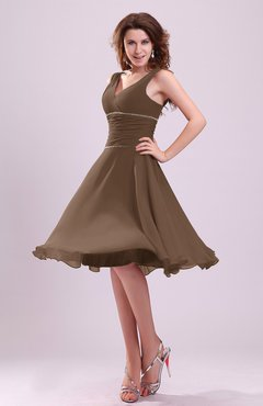 Brown Cute A-line Sleeveless Chiffon Knee Length Ruching Bridesmaid Dresses