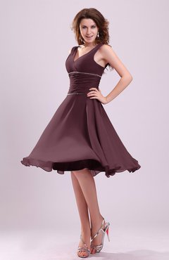 Burgundy Cute A-line Sleeveless Chiffon Knee Length Ruching Bridesmaid Dresses