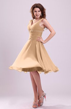 Burnt Orange Cute A-line Sleeveless Chiffon Knee Length Ruching Bridesmaid Dresses