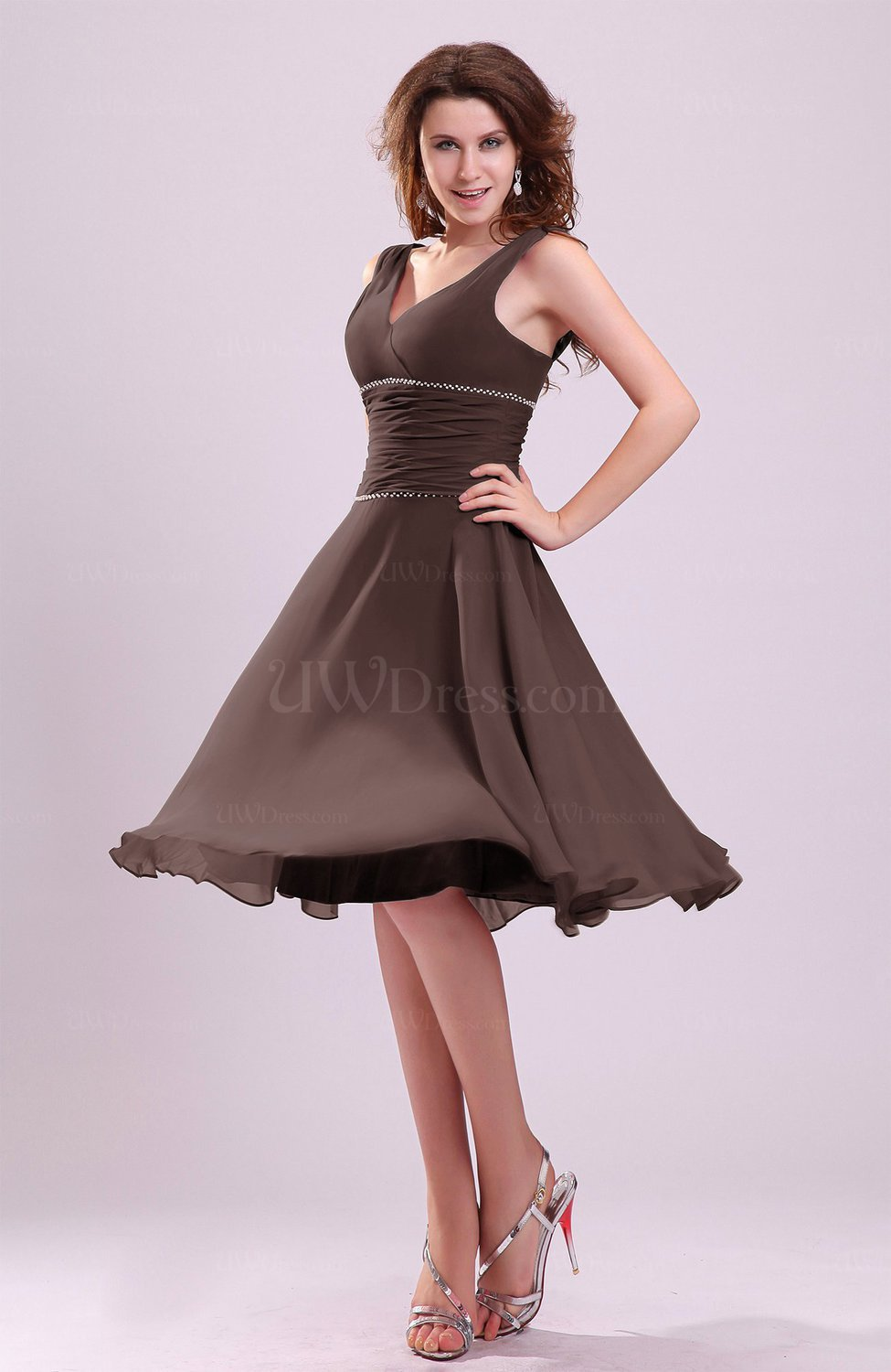 Chocolate brown cute a line sleeveless chiffon knee length for Brown dresses for a wedding