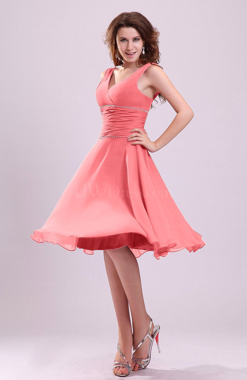 Coral Cute A-line Sleeveless Chiffon Knee Length Ruching Bridesmaid ...