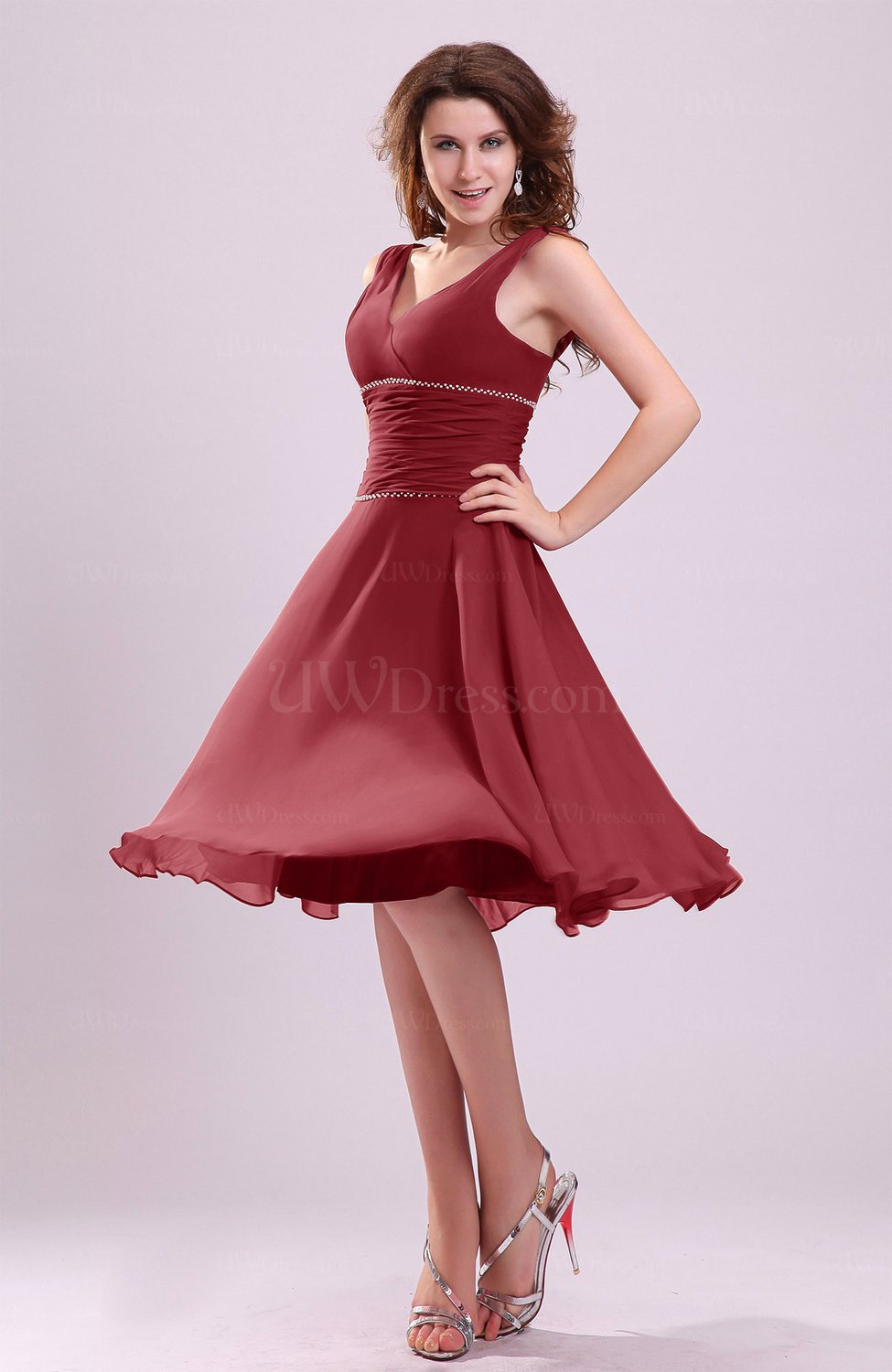 Dark Red Cute A-line Sleeveless Chiffon Knee Length Ruching ...