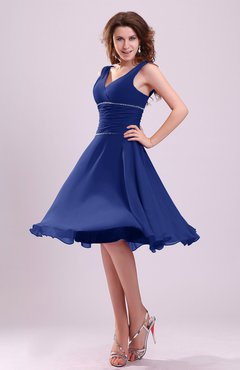 Electric Blue Cute A-line Sleeveless Chiffon Knee Length Ruching Bridesmaid Dresses