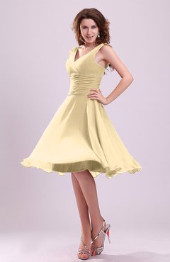 Gold Cute A-line Sleeveless Chiffon Knee Length Ruching Bridesmaid Dresses
