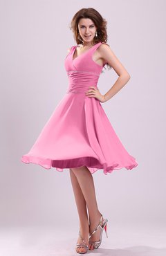 Pink Cute A-line Sleeveless Chiffon Knee Length Ruching Bridesmaid Dresses