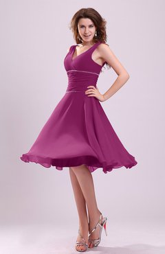 Raspberry Cute A-line Sleeveless Chiffon Knee Length Ruching Bridesmaid Dresses