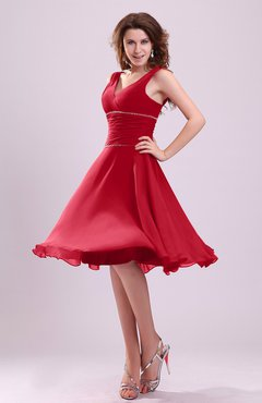 Red Cute A-line Sleeveless Chiffon Knee Length Ruching Bridesmaid Dresses