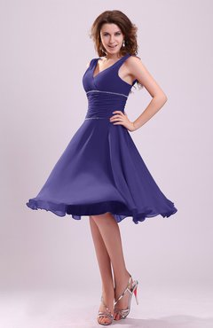 Royal Purple Cute A-line Sleeveless Chiffon Knee Length Ruching Bridesmaid Dresses