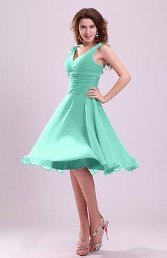 Seafoam Green Cute A Line Sleeveless Chiffon Knee Length Ruching Bridesmaid Dresses