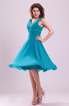 Teal Cute A-line Sleeveless Chiffon Knee Length Ruching Bridesmaid Dresses