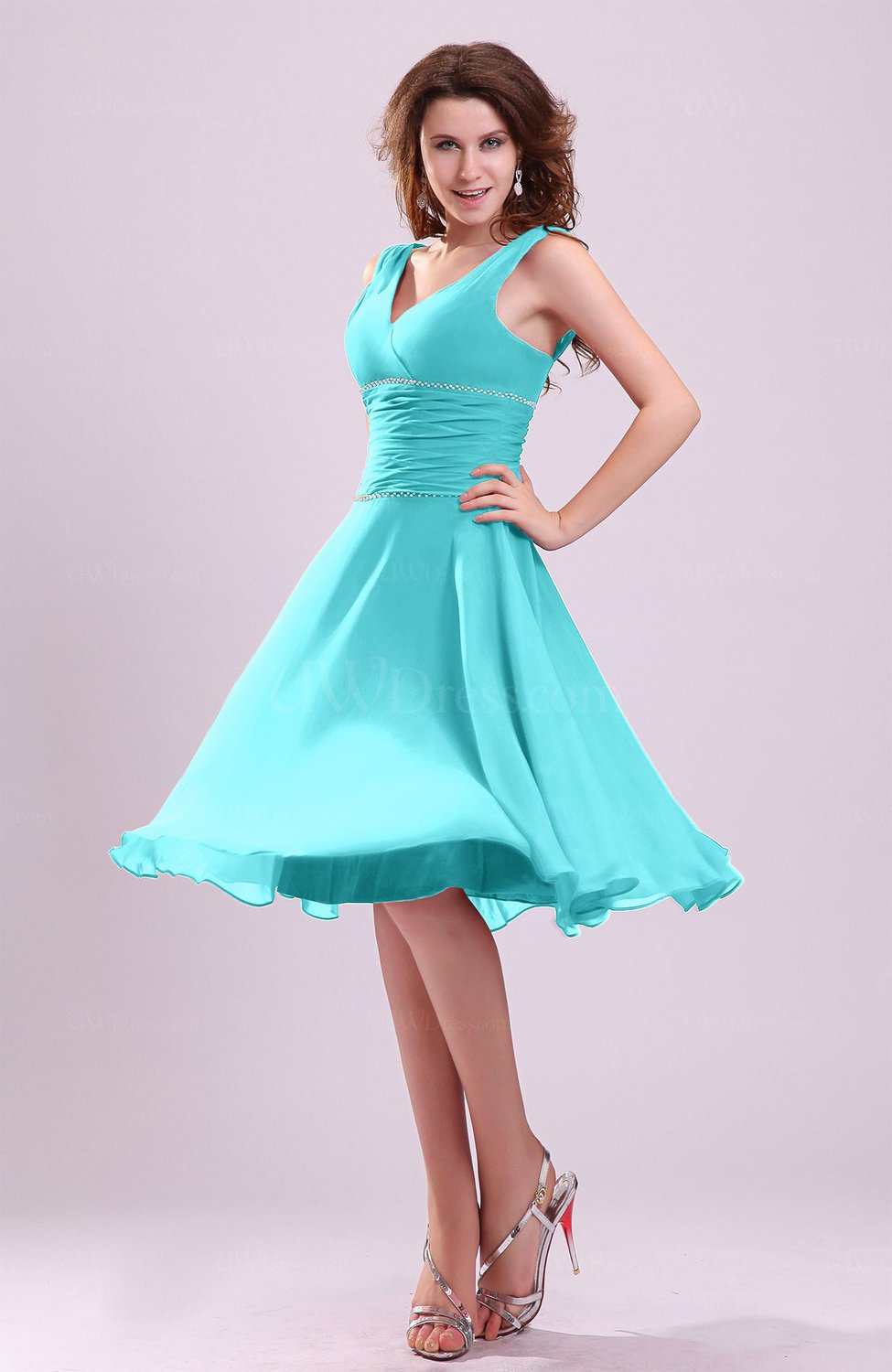 Turquoise Cute A-line Sleeveless Chiffon Knee Length Ruching ...