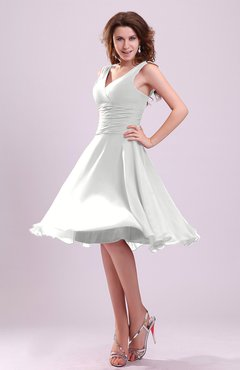 White Cute A-line Sleeveless Chiffon Knee Length Ruching Bridesmaid Dresses
