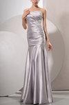 Simple Beach Trumpet Asymmetric Neckline Elastic Woven Satin Floor Length Ruching Bridal Gowns