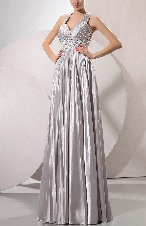 Silver glamorous hall halter sleeveless silk like satin for Silver satin wedding dress