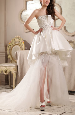 White Modern Garden Strapless Sleeveless Satin Chapel Train Sequin Bridal Gowns