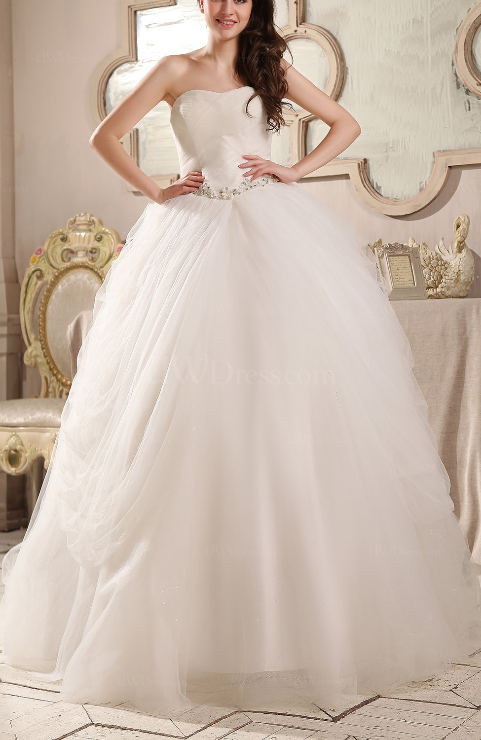 Romantic hall strapless backless chapel train rhinestone for Strapless wedding dresses with bling