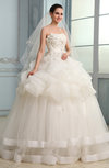 Romantic Garden Strapless Sleeveless Lace up Organza Sash Bridal Gowns