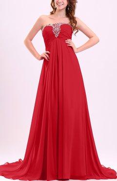 Red Modest Empire Strapless Chiffon Ruching Bridesmaid Dresses