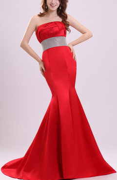 Red Glamorous Mermaid Zipper Court Train Ribbon Evening Dresses
