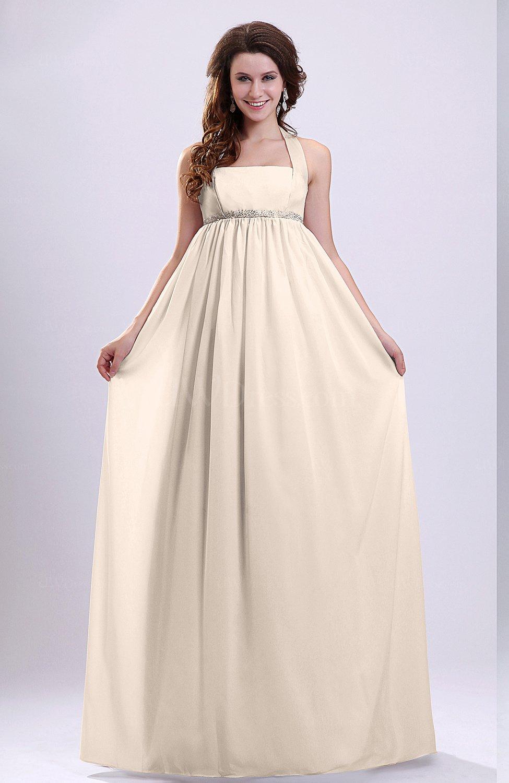 Cream simple church empire halter zip up pleated bridal for Simple cream wedding dresses