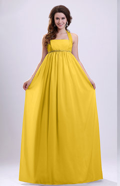 Yellow Simple Church Empire Halter Zip up Pleated Bridal Gowns