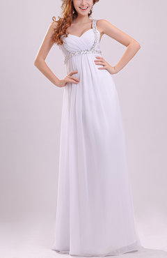 White Simple Beach Column Sweetheart Sleeveless Floor Length Pleated Bridal Gowns