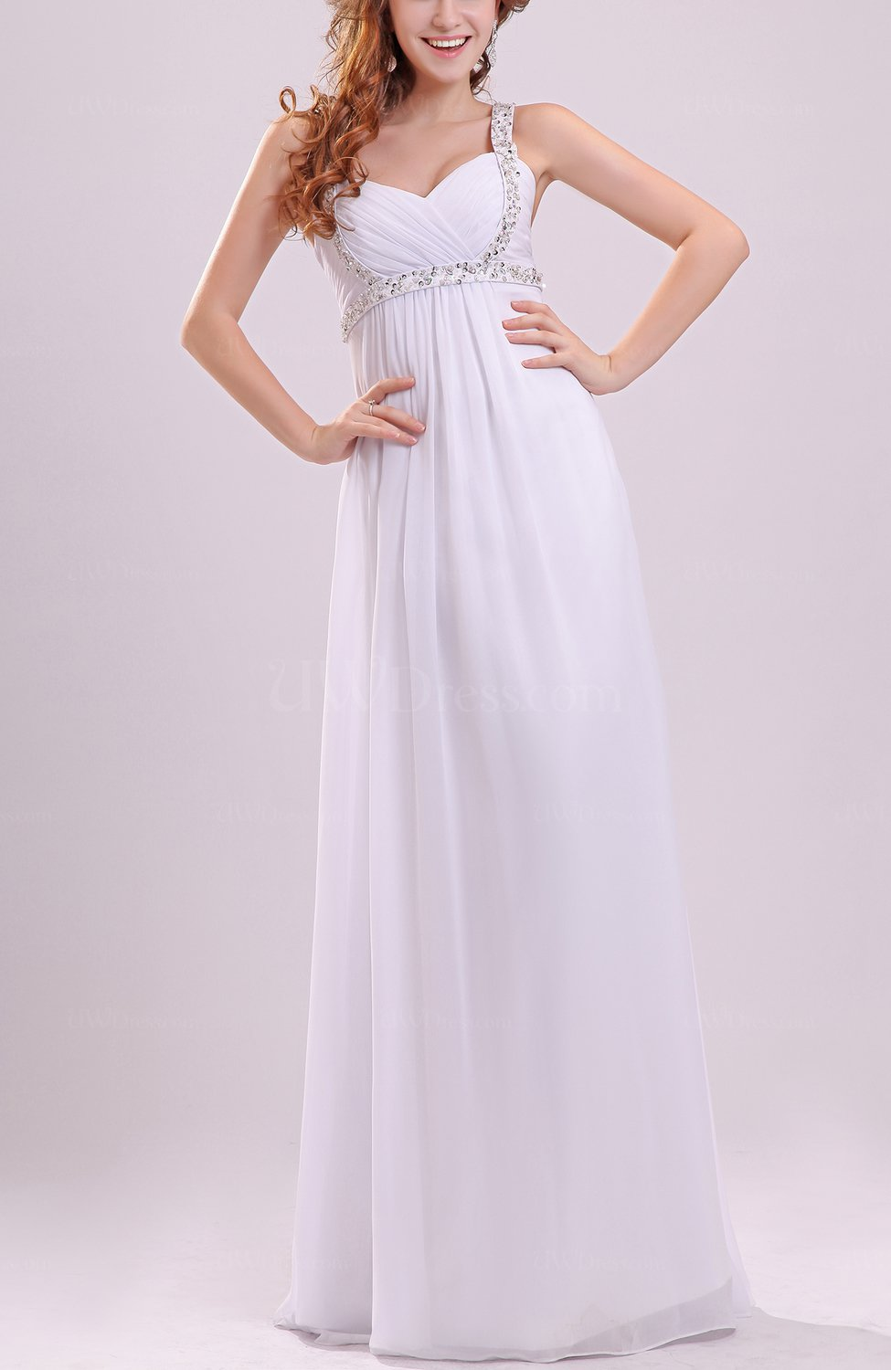 White Simple Beach Column Sweetheart Sleeveless Floor