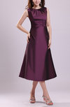 Traditional A-line Jewel Taffeta Tea Length Pleated Bridesmaid Dresses