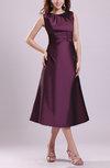Traditional A-line Jewel Taffeta Tea Length Pleated Bridesmaid Dresses
