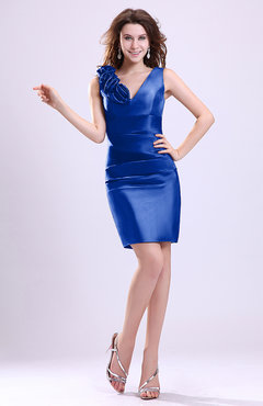Electric Blue Modern V-neck Zip up Short Ruching Cocktail Dresses